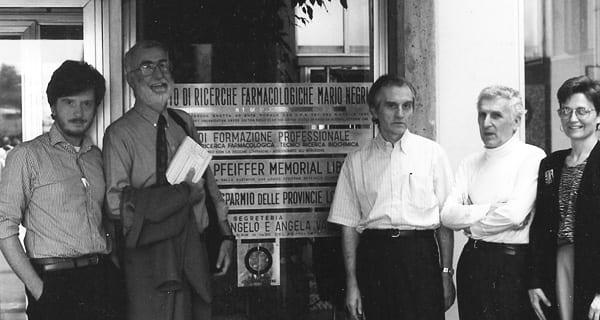 Gianni Tognoni con Alessandro Liberati, Albert Sacket e Giovanni Garattini